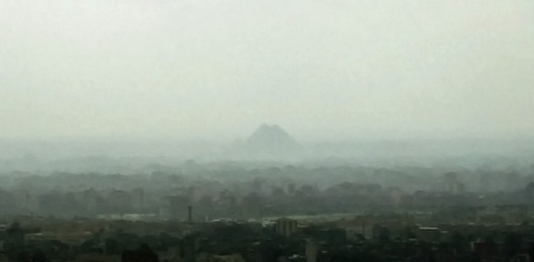 A murky view to the Giza Pyramids
