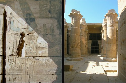 Hibis Temple reliefs and hypostyle hall