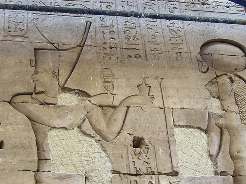 Ptolemy V offers incense to Sekhmet