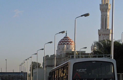 Speeding past the mosque at Qena
