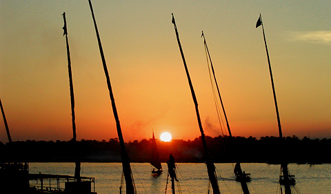 Sunset over the Nile at Luxor