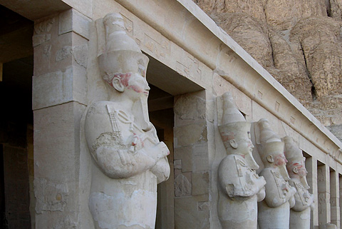 Colossal statues of Hatshepsut on the Third Terrace