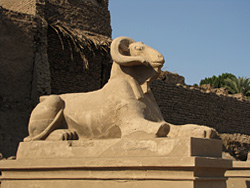 Ram headed sphinx on the southern processional way
