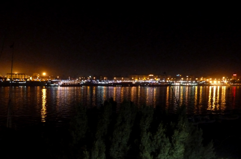 Lights reflected in the Nile