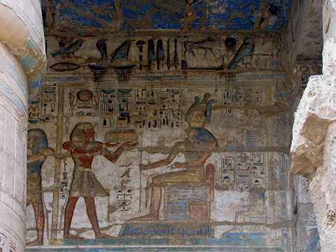 Medinet Habu, King offering to Horus